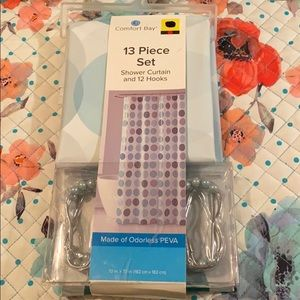 13 piece set shower curtain and 12 hook NWT